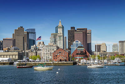 Boston Skyline North End And Financial District Poster
