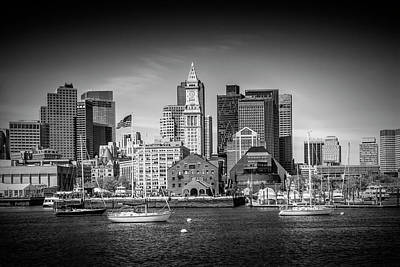 Boston Skyline North End - Monochrome Poster