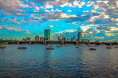 Boston Skyline Painting Effect Poster
