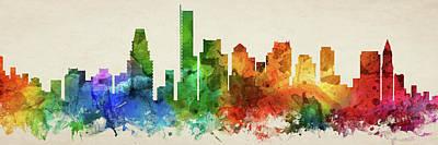 Boston Skyline Panorama Usmabo-pa03 Poster