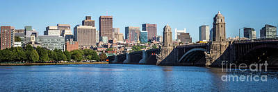 Boston Skyline Panorama With Longfellow Bridge Poster by Paul Velgos