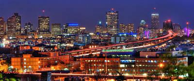 Boston Skyline Panoramic At Night Poster