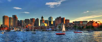 Boston Skyline Panoramic - Boston Harbor Poster by Joann Vitali