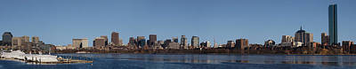 Boston Skyline Panoramic In Winter Poster