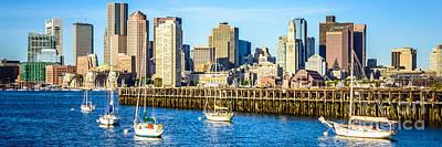 Boston Skyline Panoramic Picture Of Boston Harbor Poster