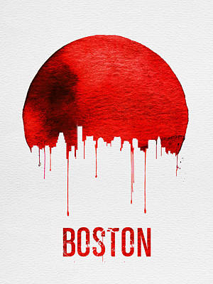 Boston Skyline Red Poster by Naxart Studio