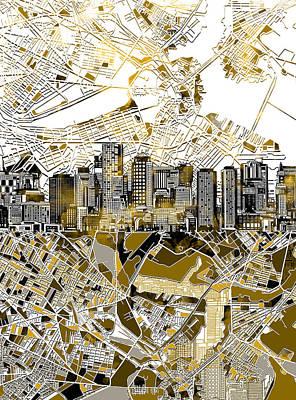 Boston Skyline Sepia Poster