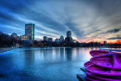 Boston Skyline Sunset On A Frozen Charles River Poster