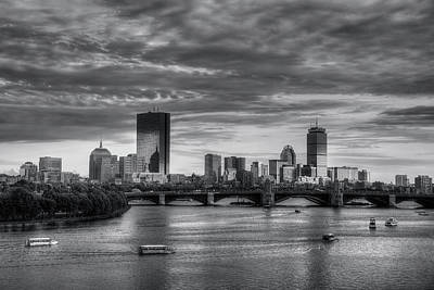 Boston Skyline Sunset Over Back Bay In Bw Poster