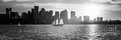 Boston Skyline Sunset Panoramic Black And White Photo Poster by Paul Velgos
