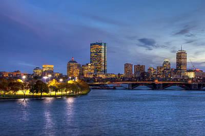 Boston Skyline Twilight Over Back Bay Poster by Joann Vitali