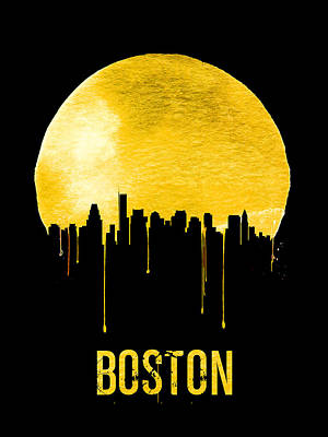 Boston Skyline Yellow Poster by Naxart Studio