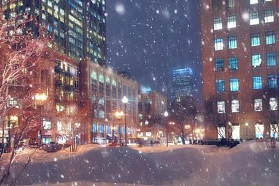 Boston Snowstorm In Back Bay Poster by Joann Vitali