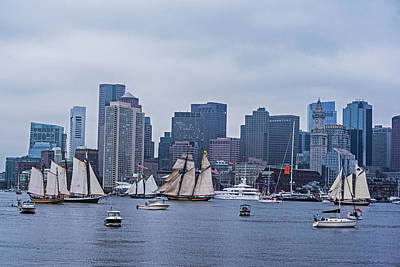 Boston Tall Ship Parade 2017 Ships In The Harbor Poster by Toby McGuire