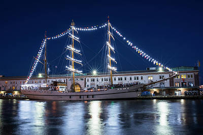 Boston Tall Ships At Night Boston Ma Poster by Toby McGuire