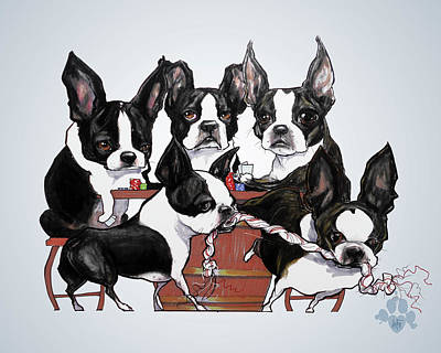 Boston Terrier - Dogs Playing Poker Poster