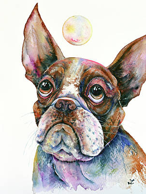 Poster featuring the painting Boston Terrier Watching A Soap Bubble by Zaira Dzhaubaeva