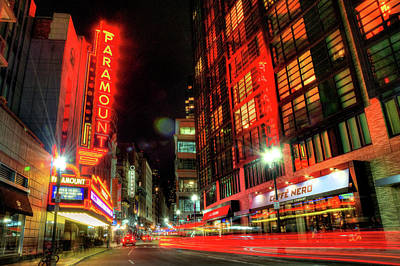 Boston Theatre District At Night Poster by Joann Vitali