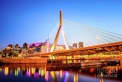 Boston Zakim Bridge At Night Photo Poster by Paul Velgos