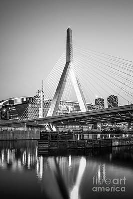 Boston Zakim Bridge Black And White Photo Poster