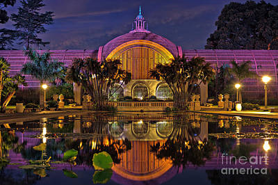 Botanical Building At Night In Balboa Park Poster