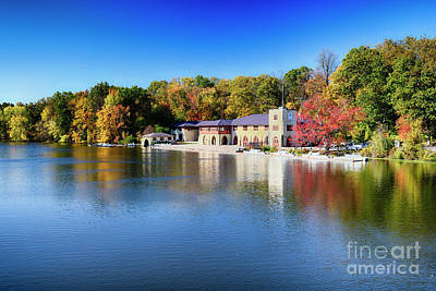 Boathouse On Lake Carnegie With Autumn Foliage Poster by George Oze