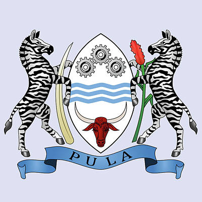 Poster featuring the drawing Botswana Coat Of Arms by Movie Poster Prints