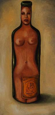 Bottle Woman 3 Poster by Leah Saulnier The Painting Maniac