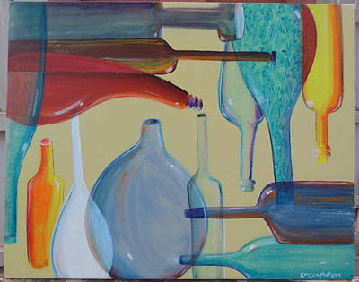 Bottles Nine Poster by Karen Campbell