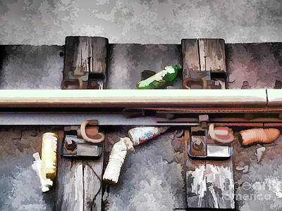 Bottles On The Subway Tracks Poster by Lanjee Chee