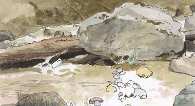Boulder At Snow Creek Poster by Robert Bissett