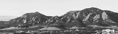 Boulder Colorado Flatirons And Cu Campus Panorama Bw Poster