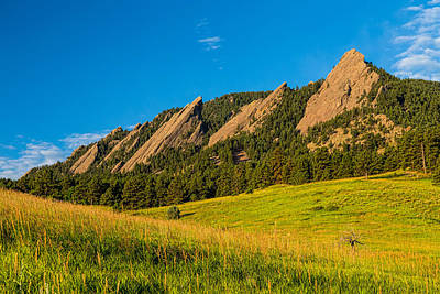 Boulder Colorado Flatirons Sunrise Golden Light Poster
