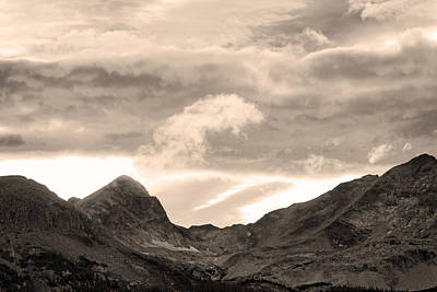 Boulder County Indian Peaks Sepia Image Poster