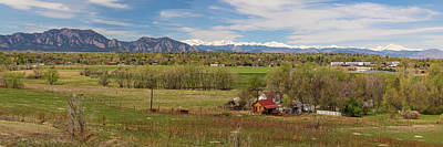 Poster featuring the photograph Boulder Louisville Lafayette Colorado Front Range Panorama by James BO Insogna