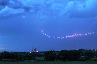 Boulder Valmont Power Plant Lightning Storming Poster
