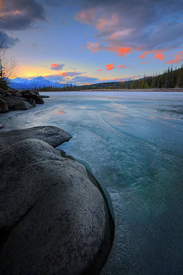 Poster featuring the photograph Boulders And Ice On The Athabasca River by Dan Jurak