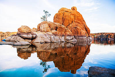 Boulders With Tree In Watson Lake - Arizona Poster