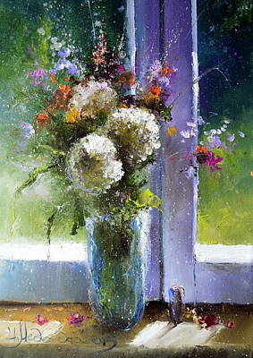 Bouquet At Window Poster