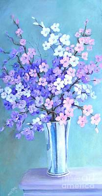 Bouquet In Silver Vase Poster
