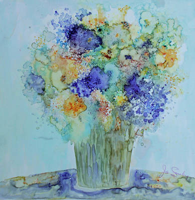 Poster featuring the painting Bouquet Of Blue And Gold by Joanne Smoley