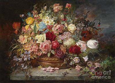 Bouquet Of Flowers In A Copper Bowl With Dragonfly Poster