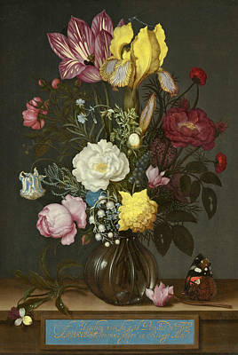 Bouquet Of Flowers In A Glass Vase Poster by Ambrosius Bosschaert