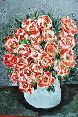 Bouquet Of Roses In The Vase Poster by Giuseppe Fassina