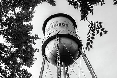 Poster featuring the photograph Bourbon Missouri Usa Vintage Water Tower - Black And White by Gregory Ballos