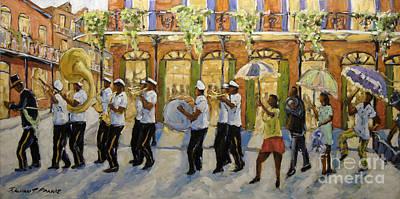 Bourbon Street Second Line New Orleans Poster by Richard T Pranke