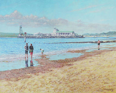 Poster featuring the painting Bournemouth Pier Late Summer Morning by Martin Davey