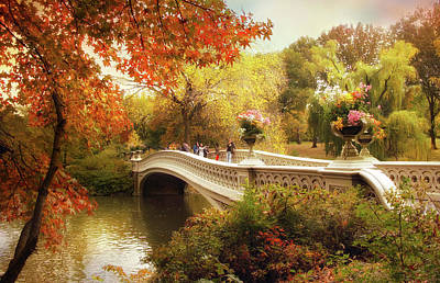 Bow Bridge Autumn Crossing Poster by Jessica Jenney