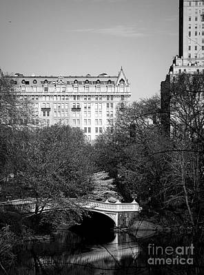 Bow Bridge In Central Park - Bw Poster by James Aiken