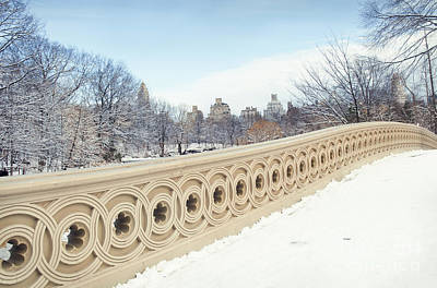 Bow Bridge In Winter The Central Park New York Poster